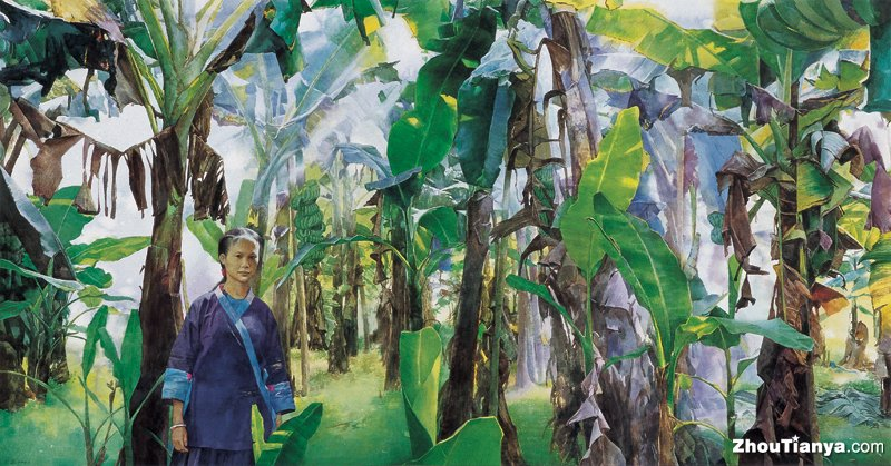 "The morning of banana forest,34.6""X66.2"""